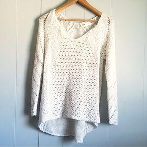 RETROD V-Neck Oatmeal Open Knit Sheer Sweater